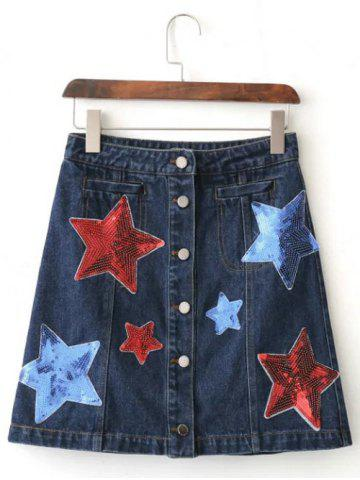 Latest Sequins Star Button-Front Denim Skirt