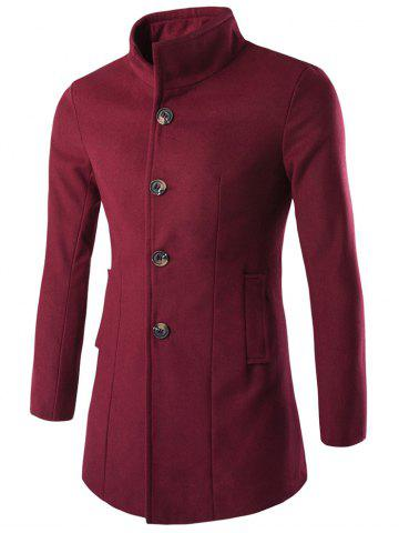 Outfits Slim-Fit Stand Collar Wool Blend Coat WINE RED 3XL