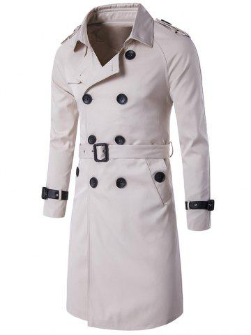 Sale Epaulet Design Double Breasted Long Trench Coat OFF WHITE 3XL