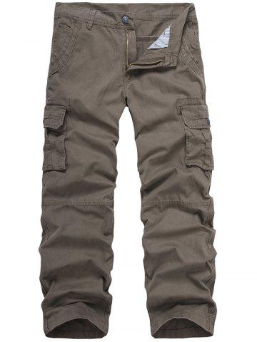 Online Zip Fly Multi-Pocket Straight Cargo Pants
