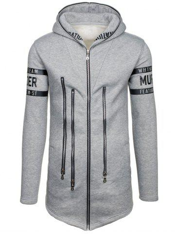 Outfit Zipper Embellished Letter Print Zip Up Hoodie