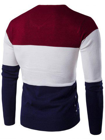 Fancy V-Neck Geometric Pattern Color Block Sweater - M WINE RED Mobile