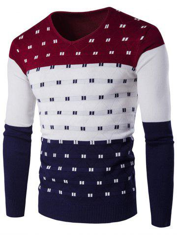 Affordable V-Neck Geometric Pattern Color Block Sweater - M WINE RED Mobile