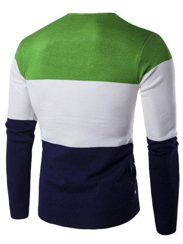 Buy V-Neck Geometric Pattern Color Block Sweater - 2XL GREEN Mobile
