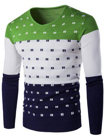 V-Neck Geometric Pattern Color Block Sweater - Green - M