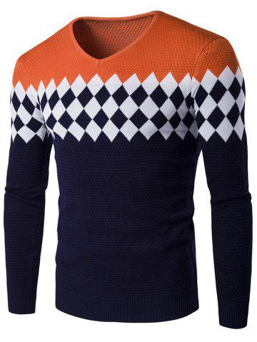 Discount V-Neck Rhombus Pattern Color Block Sweater ORANGE 2XL