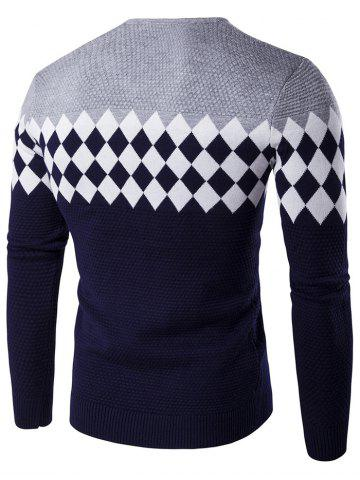 Chic V-Neck Rhombus Pattern Color Block Sweater - XL GRAY Mobile