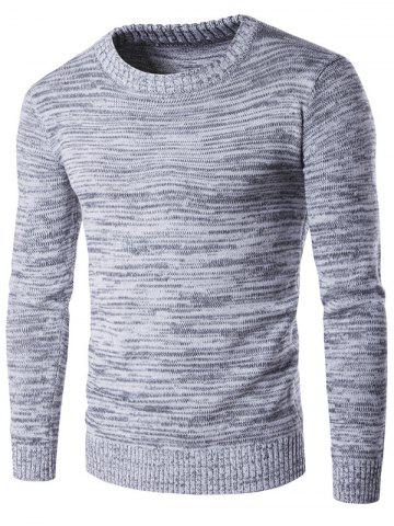 Crew Neck Space Dyed Sweater - GRAY M