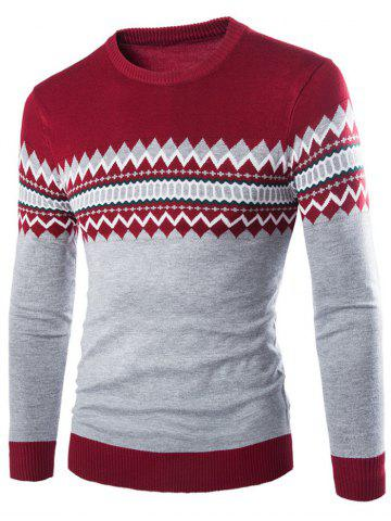 New Crew Neck Color Block Geometric Knitwear - L WINE RED Mobile
