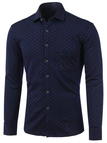 Fancy Polka Dot and Flower Print Turn-Down Collar Fleece Shirt