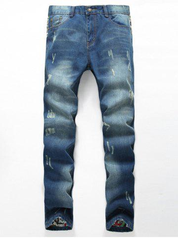 Unique Zipper Fly Distressed Printed Lining Jeans