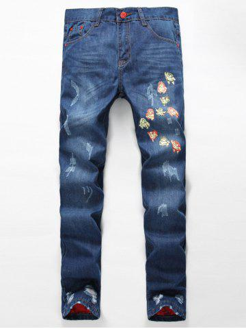 Discount Zipper Fly Distressed Cartoon Printed Lining Jeans