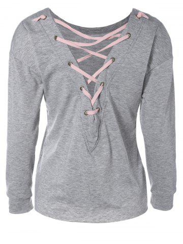 Cheap Loose Lace-Up Cut Out Sweatshirt GRAY XL