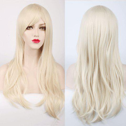 Multicolor Long Side Bang Layered Tail Adduction Cosplay Lolita Synthetic Wig - OFF WHITE