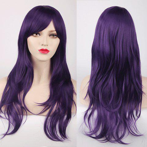 Best Multicolor Long Side Bang Layered Tail Adduction Cosplay Lolita Synthetic Wig - PURPLE  Mobile