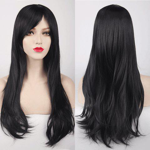 Trendy Multicolor Long Side Bang Layered Tail Adduction Cosplay Lolita Synthetic Wig - BLACK  Mobile