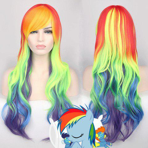New Cosplay Long Side Bang Wavy Rainbow Dash My Little Pony Synthetic Wig