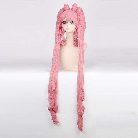 Best Chibiusa Sailor Moon Cosplay Long Side Bang with Bunches Synthetic Wig - PINK  Mobile