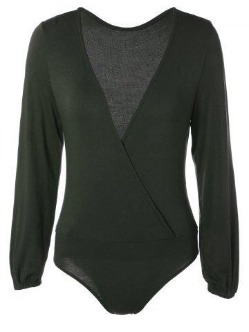 Discount Plunging Neck Long Sleeve Bodysuit BLACKISH GREEN 2XL