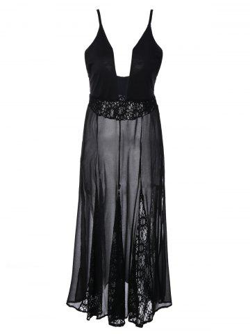 Shops Lace Panel Sheer Maxi Slip Dress BLACK 2XL