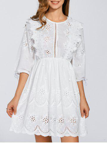 Latest Round Neck Embroidered Eyelet Dress