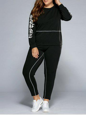Sale Graphic Sweatshirt and Pants BLACK 4XL