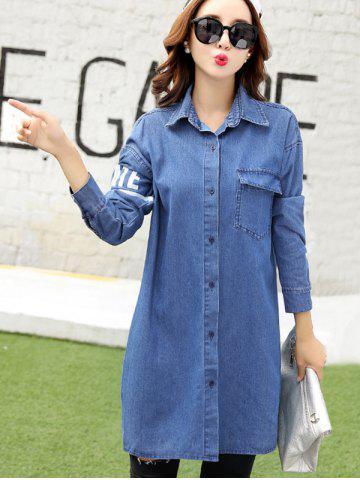 Letter 45 Number Long Jean Coat - Denim Blue - Xl