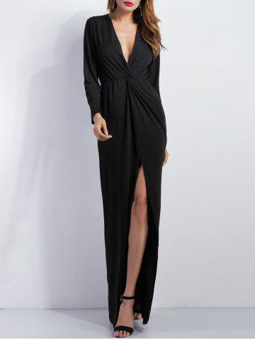 Affordable Knotted Long Sleeve Plunge Slit Maxi Prom Dress BLACK S