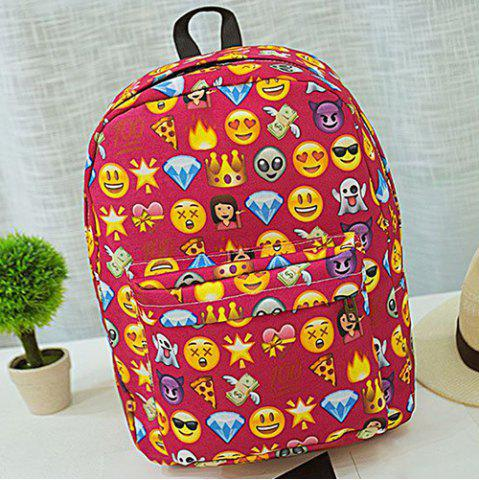 Sale Emoji Print Nylon Backpack - RED  Mobile