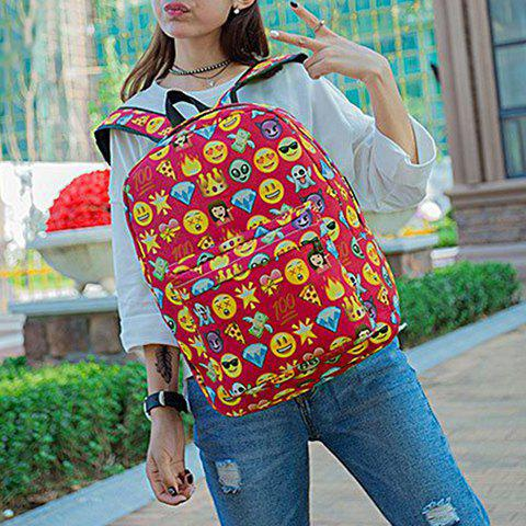 New Emoji Print Nylon Backpack - RED  Mobile