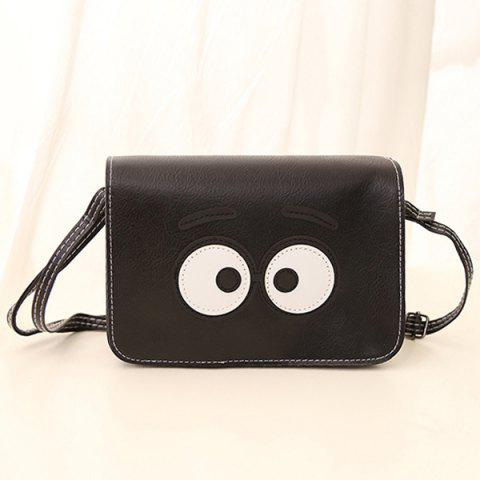 Online Stitching Cartoon Eyes Crossbody Bag BLACK