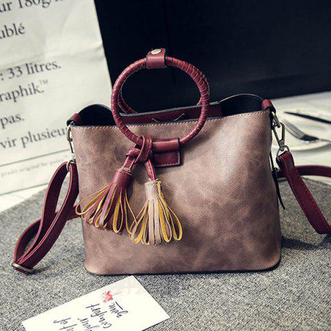 Store Faux Leather Tassels Tote Bag