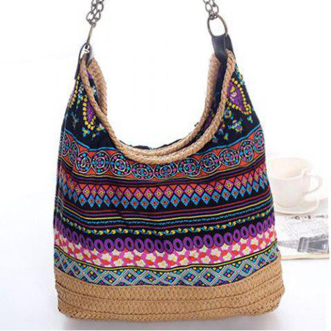 Outfits Bohemian Straw Chains Printed Shoudler Bag