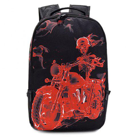 Fancy Zipper Skeleton Print Colour Splicing Backpack