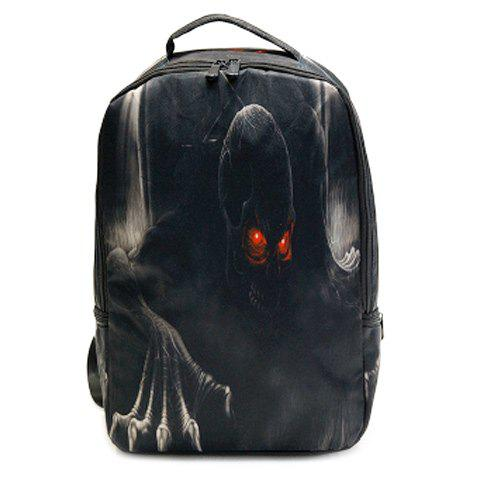 Online Color Spliced Skull Print Zipper Backpack