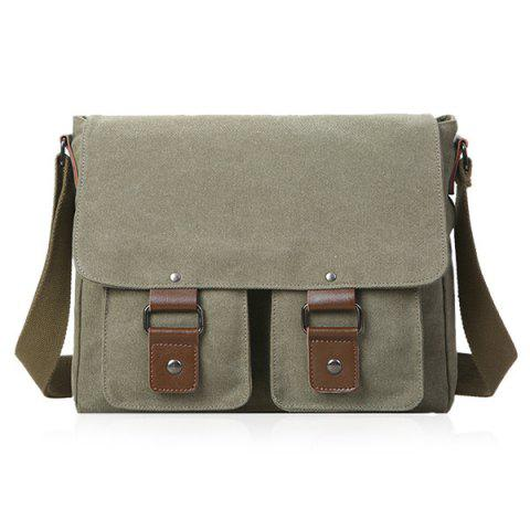 Fashion Magnetic Closure Double Pocket Canvas Messenger Bag