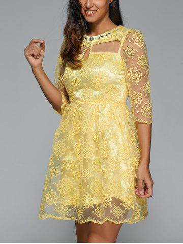 Hot Embroidery See-Through Voile Dress