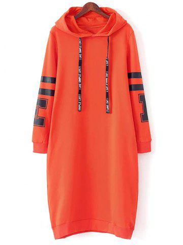 Discount Casual Hooded Graphic Hoodie Dress ORANGE RED L