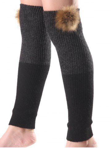 Sale Warm Faux Mink Hair Knit Leg Warmers BLACK
