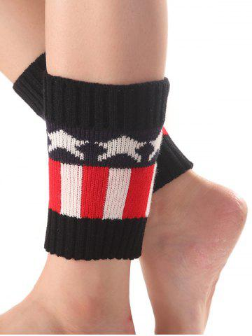 Warm Star Stripe Pattern Knit Boot Cuffs - Black