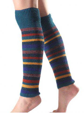 Discount Warm Multicolor Stripe Knit Leg Warmers TURQUOISE
