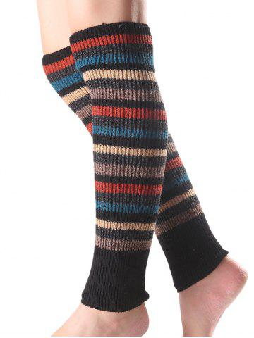Warm Multicolor Stripe Knit Leg Warmers - Black