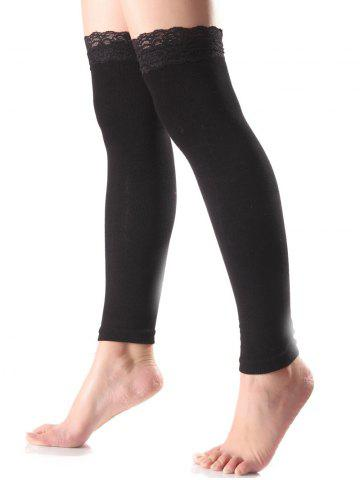 Autumn Lace Edge Smooth Leg Warmers - Black