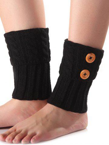 Affordable Warm Buttons Flanging Knit Boot Cuffs - BLACK  Mobile