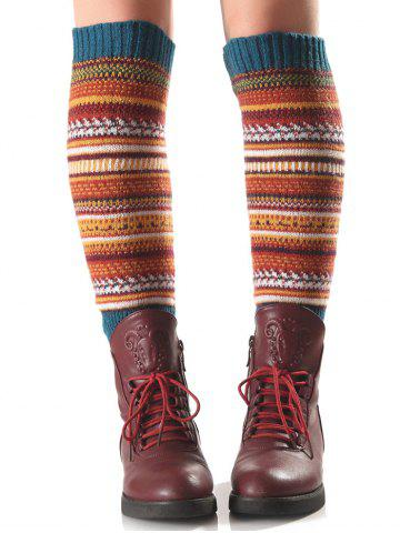 Affordable Warm Ethnic Multicolor Stripe Knit Leg Warmers TURQUOISE