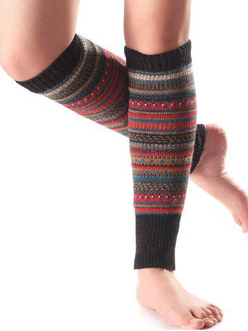 Warm Ethnic Multicolor Stripe Knit Leg Warmers - Black