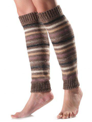 Warm Horizontal Stripe Knit Leg Warmers - Khaki