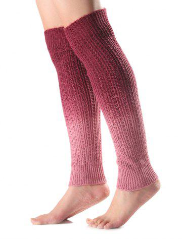 Warm Ombre Knit Leg Warmers - Red
