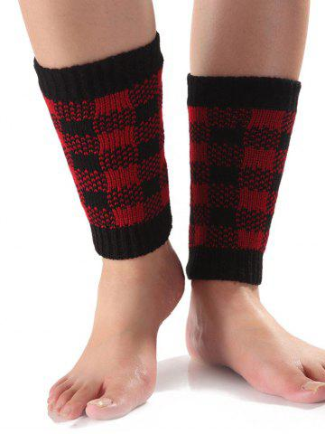 Discount Warm Checkered Knit Boot Cuffs RED