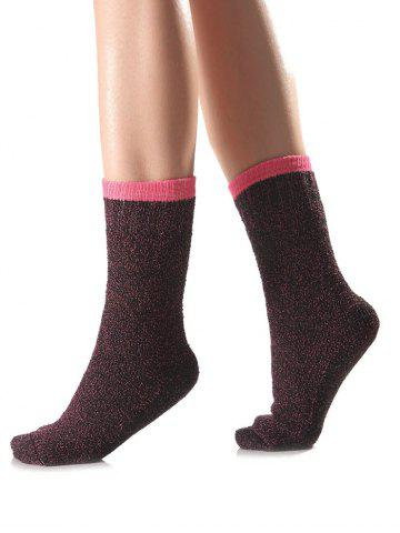 Warm Candy Edge Knit Socks - Rose Red